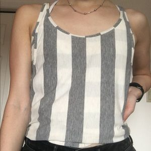 Grey and white striped running tank top